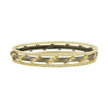 MD SS/14KYP/CZ PAVE ROPED 3 STACK BANGLES