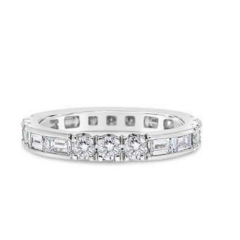 round and baguette diamond band