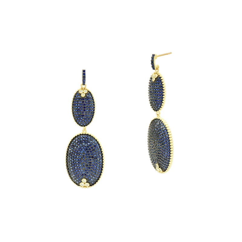 Freida Rothman MD II/ SS/ 14KYP/ BLUE CZ PAVE DOUBLE DROP EARR (14K POSTS)