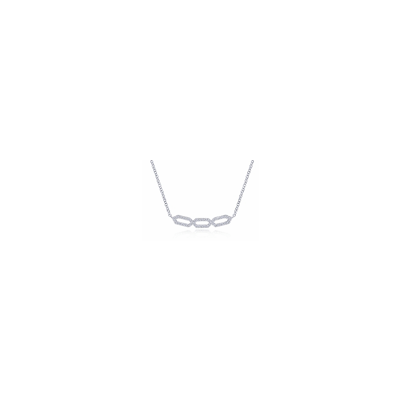 Gabriel Fashion 14KW .26CT DIA OPEN DESIGN SMILE NECKLACE