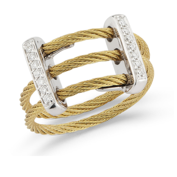 Yellow Cable Petite Flex Ring with Dual 18kt White Gold Bars & Diamonds