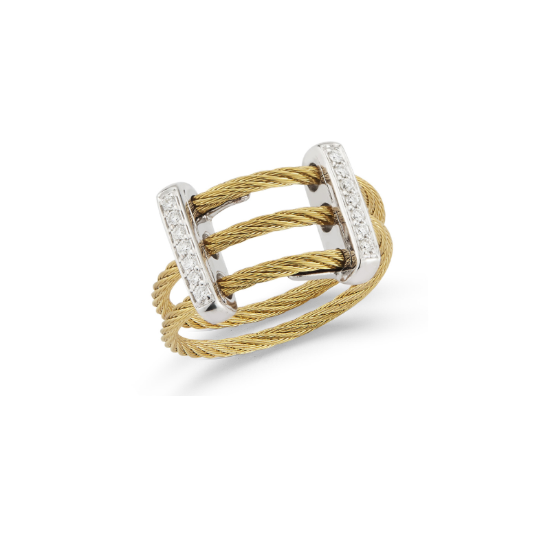 ALOR Yellow Cable Petite Flex Ring with Dual 18kt White Gold Bars & Diamonds