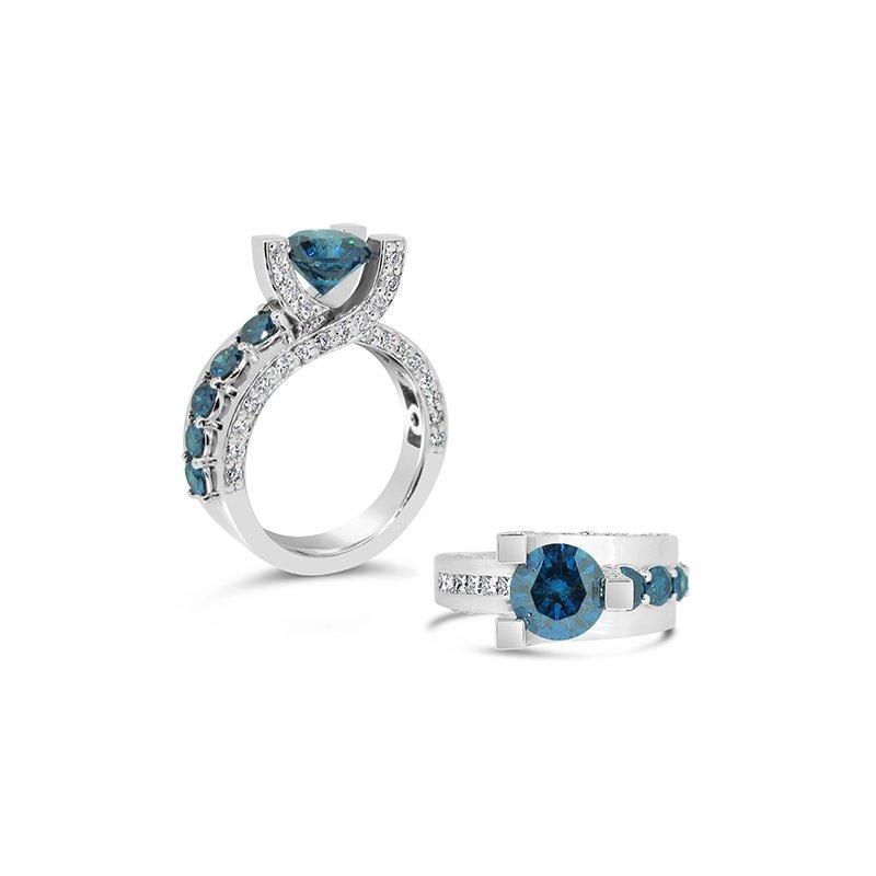 Aires Custom Fashion blue diamond ring