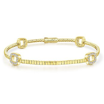 14KY .37CT DIA OPEN SQ STATION BRACELET
