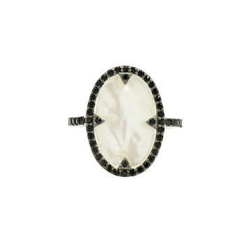 IF SS/ BLK CZ/ MOP COCKTAIL RING SZ 7