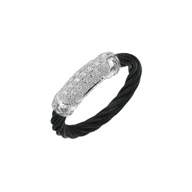 ALOR 18 Karat White Gold And Black Stainless Steel N.C with .08ct of diamonds
