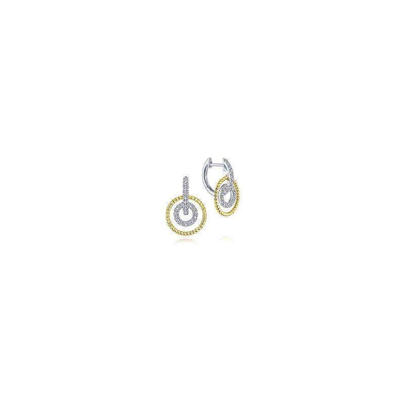 Gabriel Fashion 14KW/Y .36CT DIA CIRCLE EARR