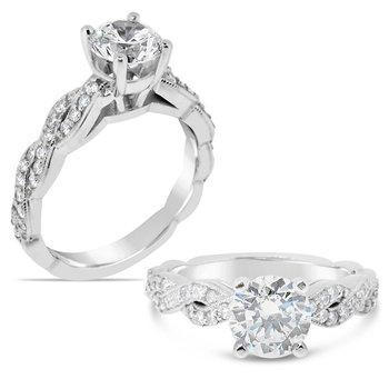 Round center diamond twist ring
