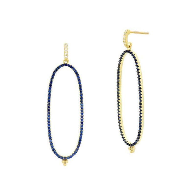 Freida Rothman MD II/ SS/ 14KY/ BLUE CZ PAVE LINEAR HOOP EARR (14K POSTS)