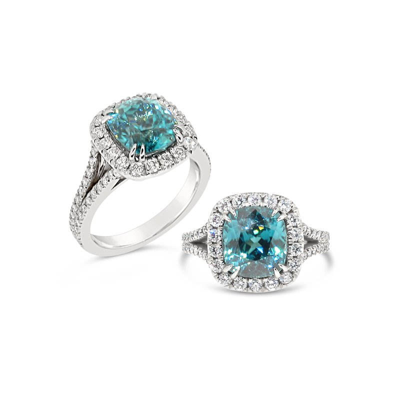 Aires Signature Collection Blue Zircon and Diamond ring
