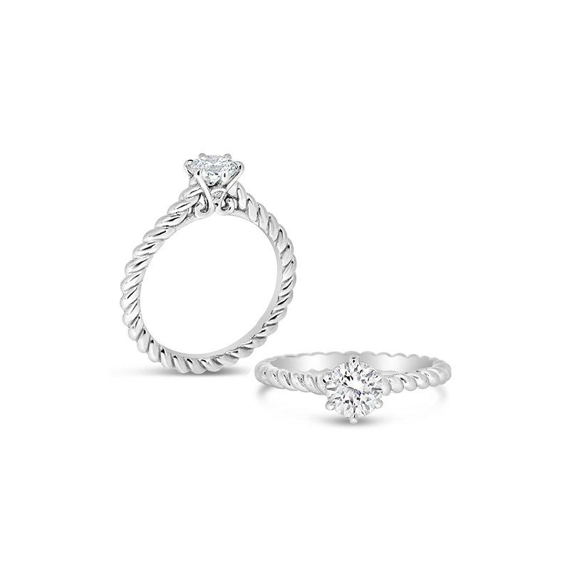 Aires Custom Bridal round center twist ring