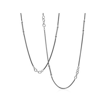 SS/ BLACK AND GREY NECKLACE 36""