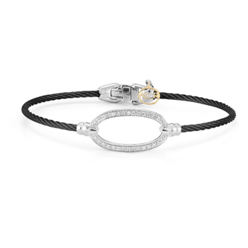 Black steel cable and 18K white gold oval diamond top bracelet