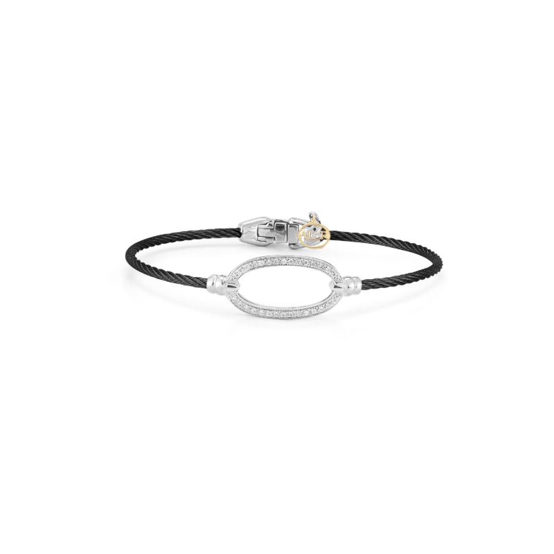 ALOR Black steel cable and 18K white gold oval diamond top bracelet