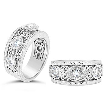 marquise scroll antique band