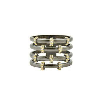 IMP/SS/BLK RHD/14KYP PAVE CAGE RING