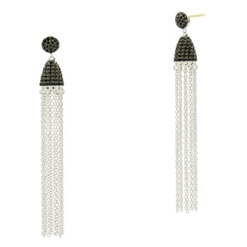 IF SS/ BLK CZ/ TASSEL EARRINGS (14K POSTS)
