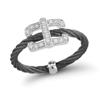 Black steel cable and 18K white gold square diamond top ring