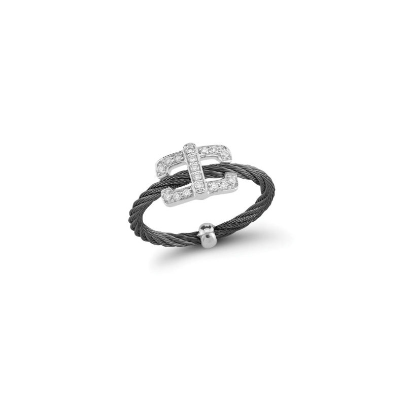 ALOR Black steel cable and 18K white gold square diamond top ring