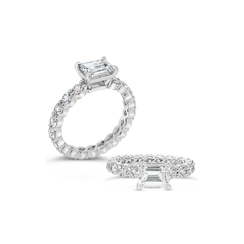 Aires Custom Bridal emerald cut center with diamonds