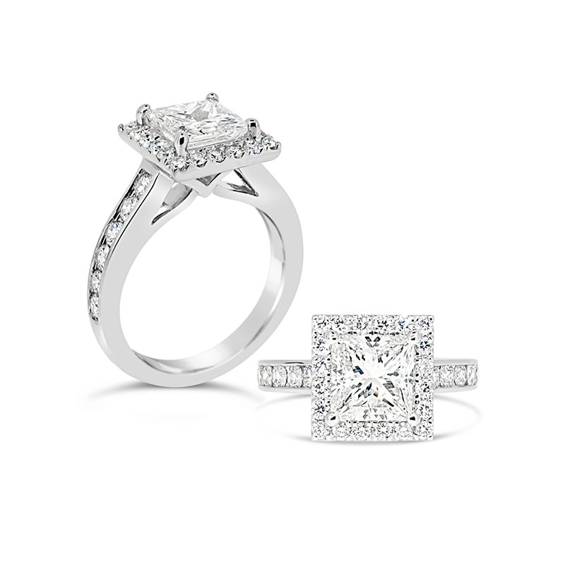 Aires Custom Bridal princess cut with halo