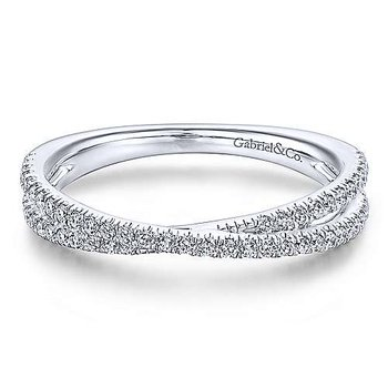 14KWG DIA .27CT CROSSOVER STACKING RING