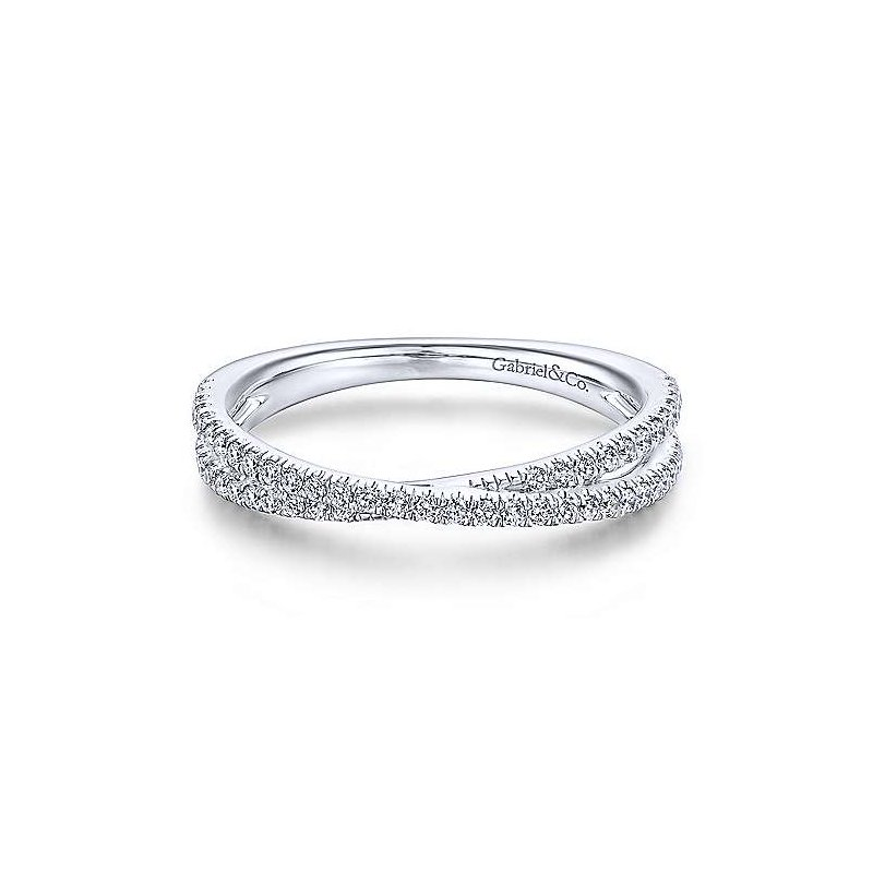 Gabriel Fashion 14KWG DIA .27CT CROSSOVER STACKING RING