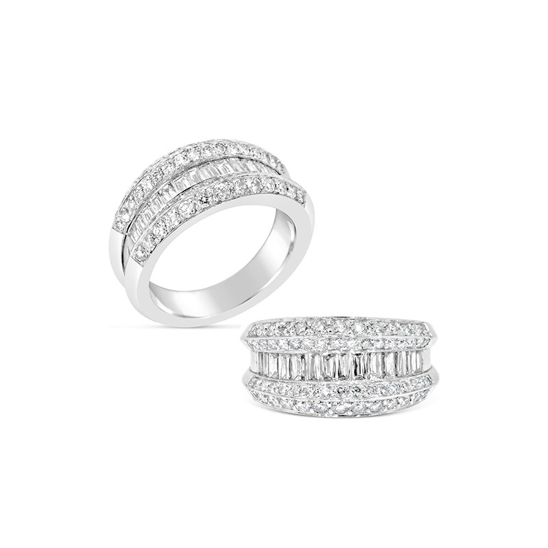 Aires Custom Bridal baguette and round diamond band