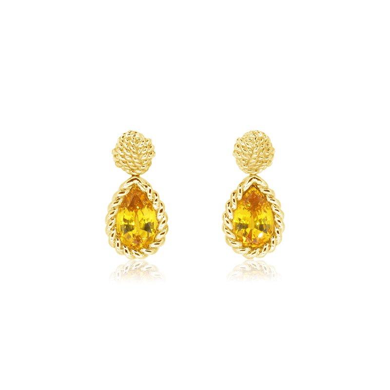 Aires Custom Fashion yellow sapphire drop earrings