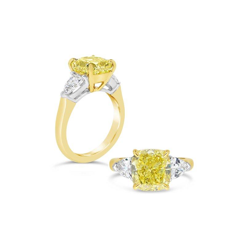 Aires Custom Bridal cushion center three stone ring