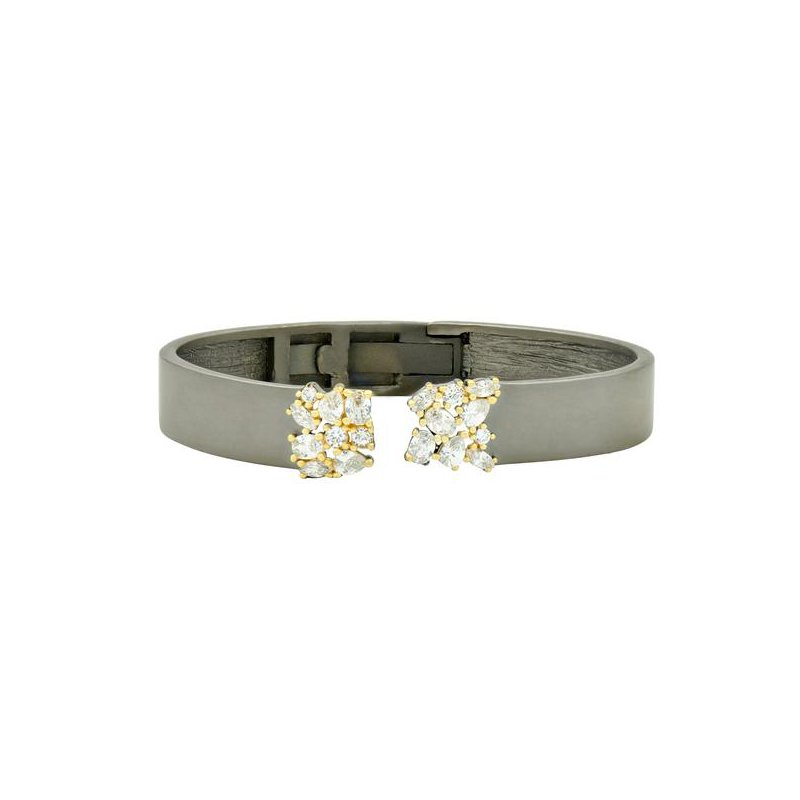 Freida Rothman MD SS/14KYP/CZ OPEN CUFF BANGLE