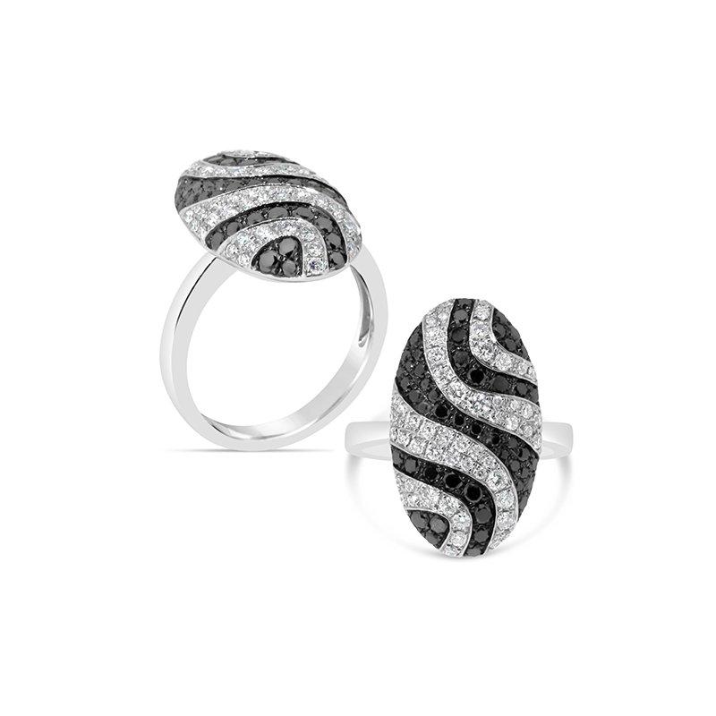 Aires Custom Fashion black and white diamond ring