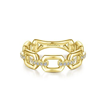 14KY .11CT DIA LINK STYLE STACK RING