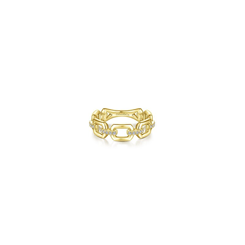 Gabriel Fashion 14KY .11CT DIA LINK STYLE STACK RING