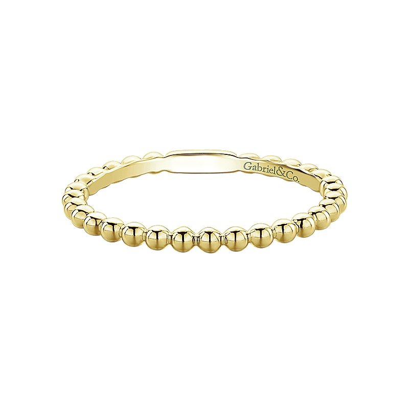 Gabriel Fashion 14KY BEADED STACKING RING