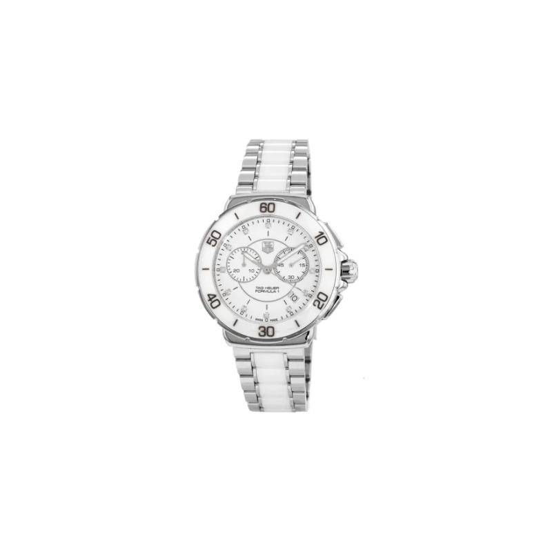 Tag Heuer Formula 1 Quartz Chronograph White Ceramic Diamond Dial Women's Watch