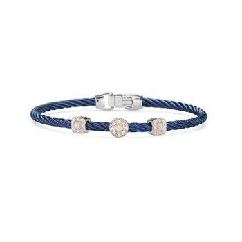 SS/18K .14CT DIA BLUE CBL 3 STATION BANGLE