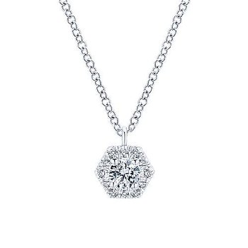 14KWG DIA .25CT MESSLER HEXAGON NECKLACE
