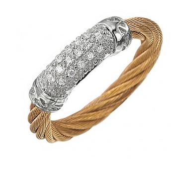 Lady's Ros Pvd-18K Wg Fashion Ring Size 6.5 with 0.08Tw Round Diamonds
