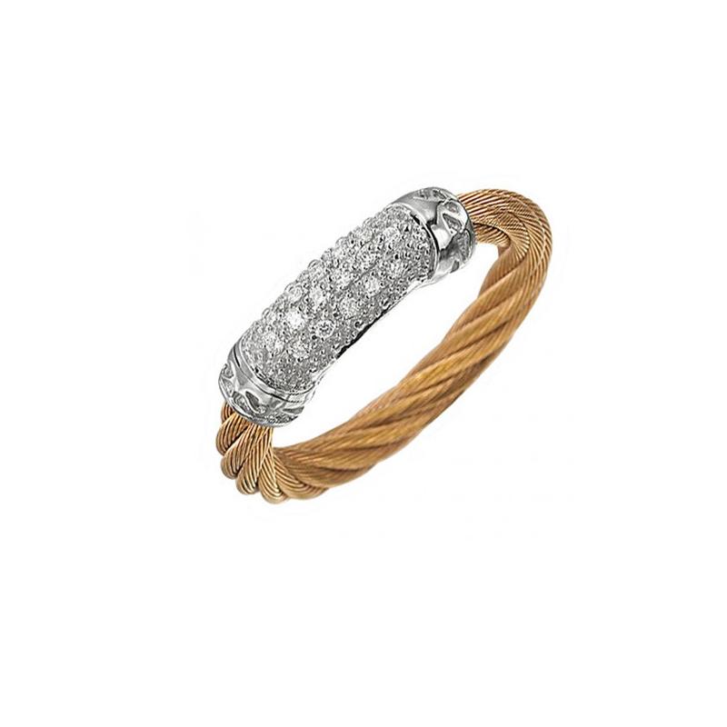 ALOR Lady's Ros Pvd-18K Wg Fashion Ring Size 6.5 with 0.08Tw Round Diamonds