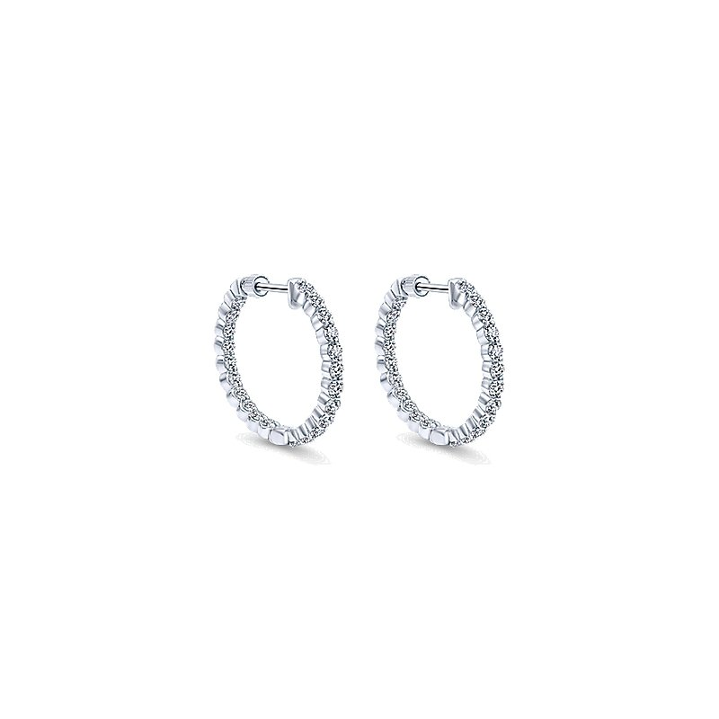 Gabriel Fashion 14KW 1.99CT DIA IN/OUT HOOPS 20MM