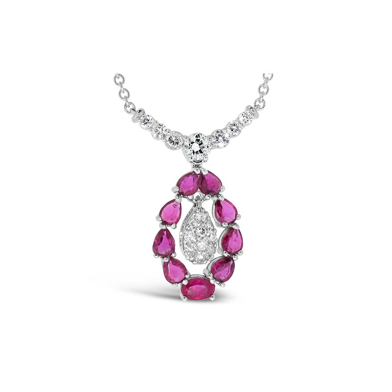 Aires Custom Fashion ruby and diamond pendant