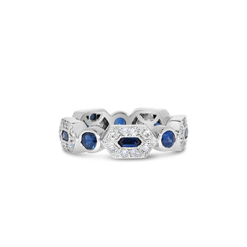 Aires Custom Bridal sapphire and diamond station band