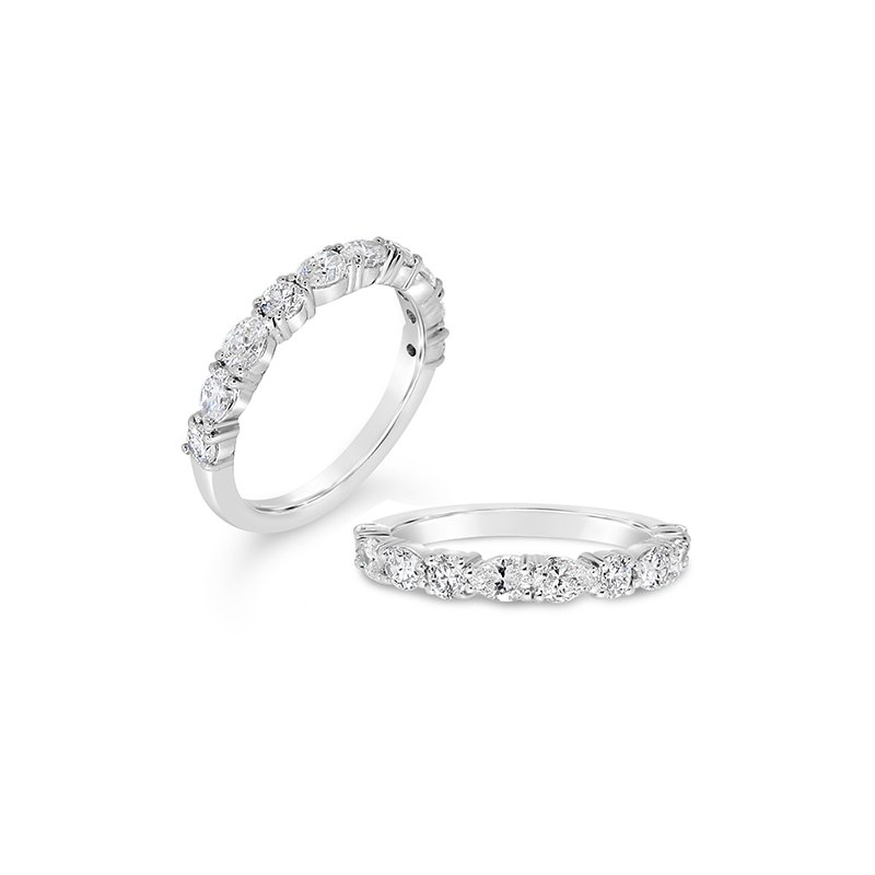 Aires Custom Bridal round and pear shaped diamond band