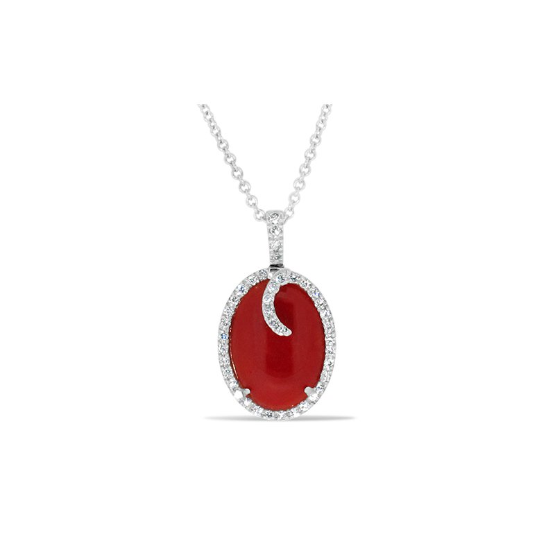 Aires Custom Fashion red coral and diamond pendant