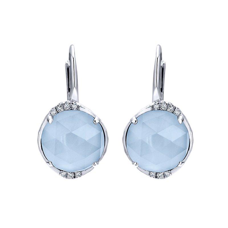 Gabriel Fashion SS/.07CT DIA/ RCK XTL/ BLUE JADE EARRINGS