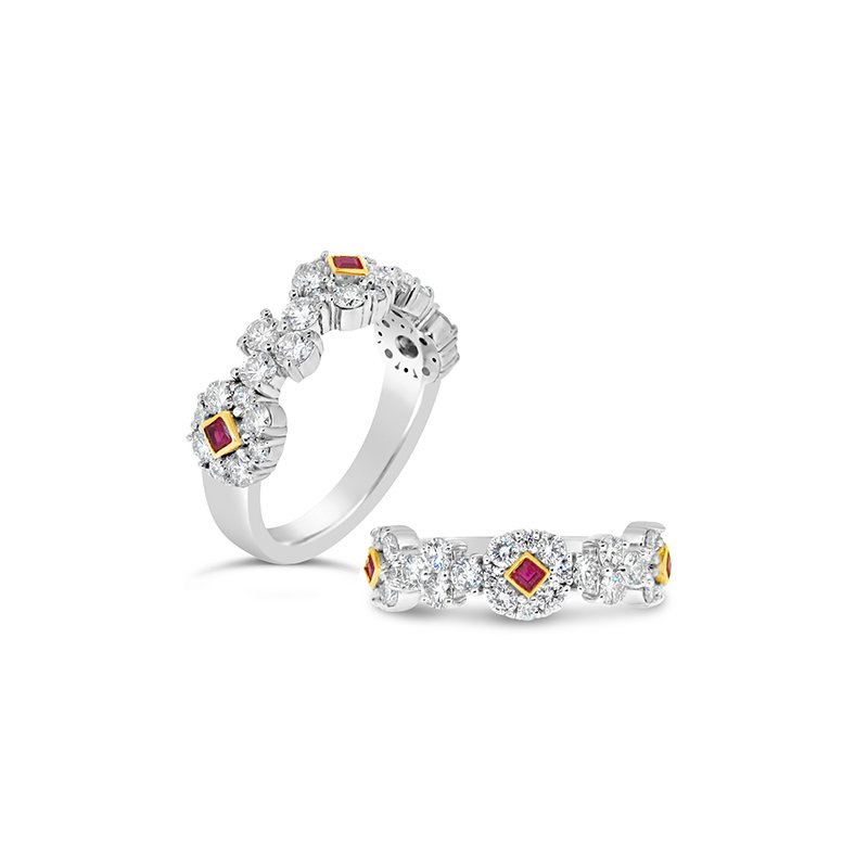 Aires Custom Bridal ruby and diamond band