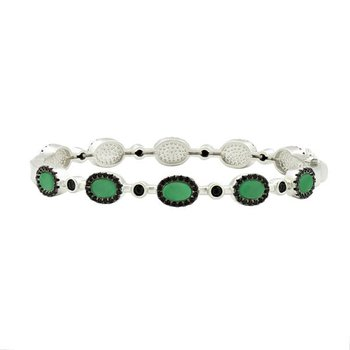 IF SS/ BLK CZ/ GRN AGATE/ HINGE BANGLE