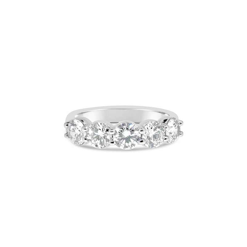 Aires Custom Bridal shared prong 5 stone band