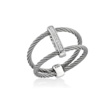 Grey Cable Bound Ring with 18kt White Gold & Diamonds